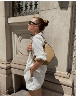 @madelynnfurlong in the sunny streets of NYC, wearing our AGNES #agneel #agnes #agneelwomen