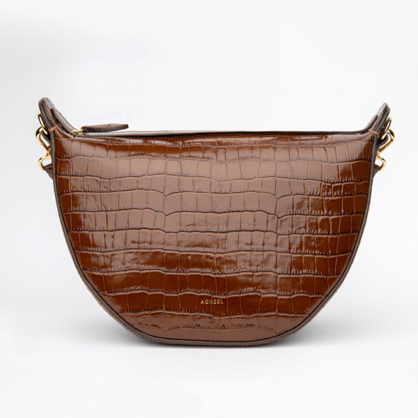 AGNES HANDHELD BAG IN CALFSKIN TOBACCO WITH CROCO EMBOSSING