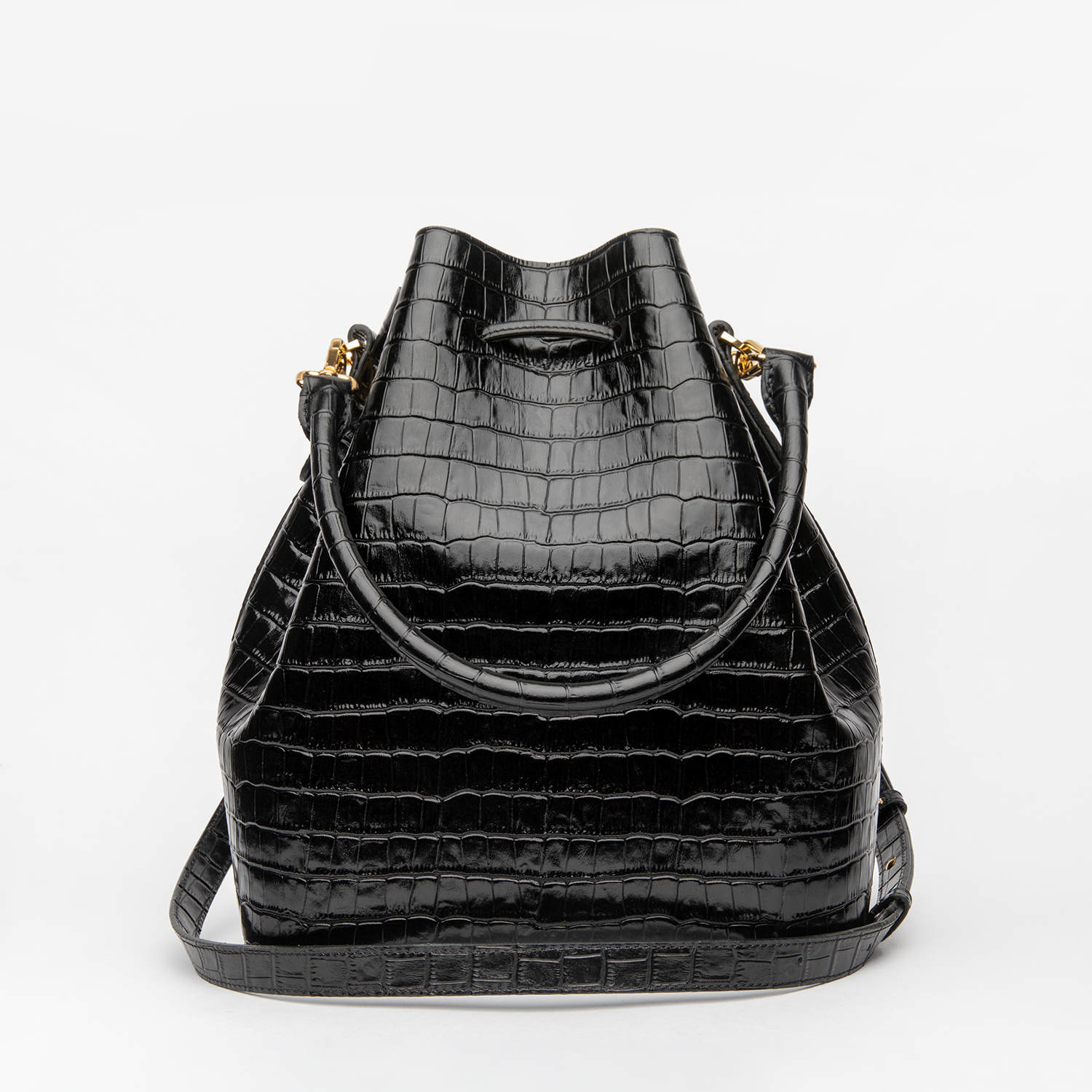 ALESSA DRAWSTRING BAG IN CALFSKIN WITH CROCO DESIGN