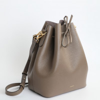 ALESSA DRAWSTRING BAG IN STRUCTURED CALF LEATHER TAUPE