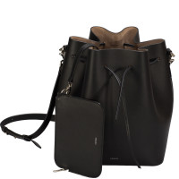ALESSA DRAWSTRING BAG IN ITALIAN CALFSKIN BLACK