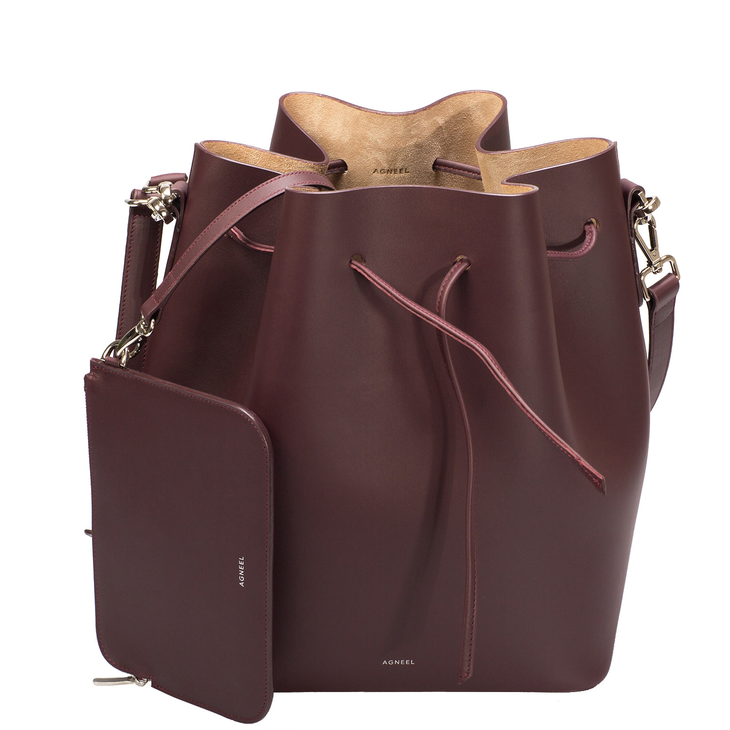 ALESSA DRAWSTRING BAG IN ITALIAN CALFSKIN