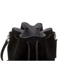 ALESSA DRAWSTRING BAG IN COW LEATHER BLACK