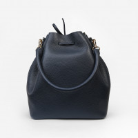 ALESSA DRAWSTRING BAG IN STRUCTURED CALF LEATHER NAVY
