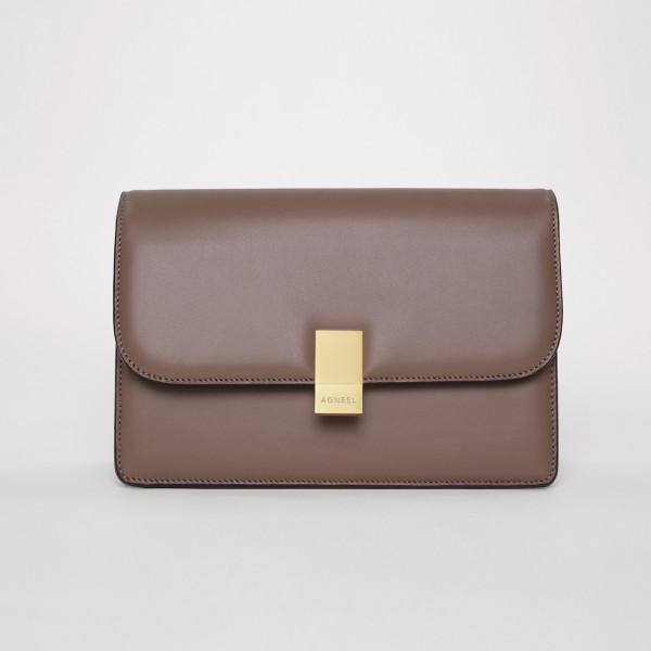 DENA SHOULDER BAG IN SMOOTH LEATHER CAPPUCCINO