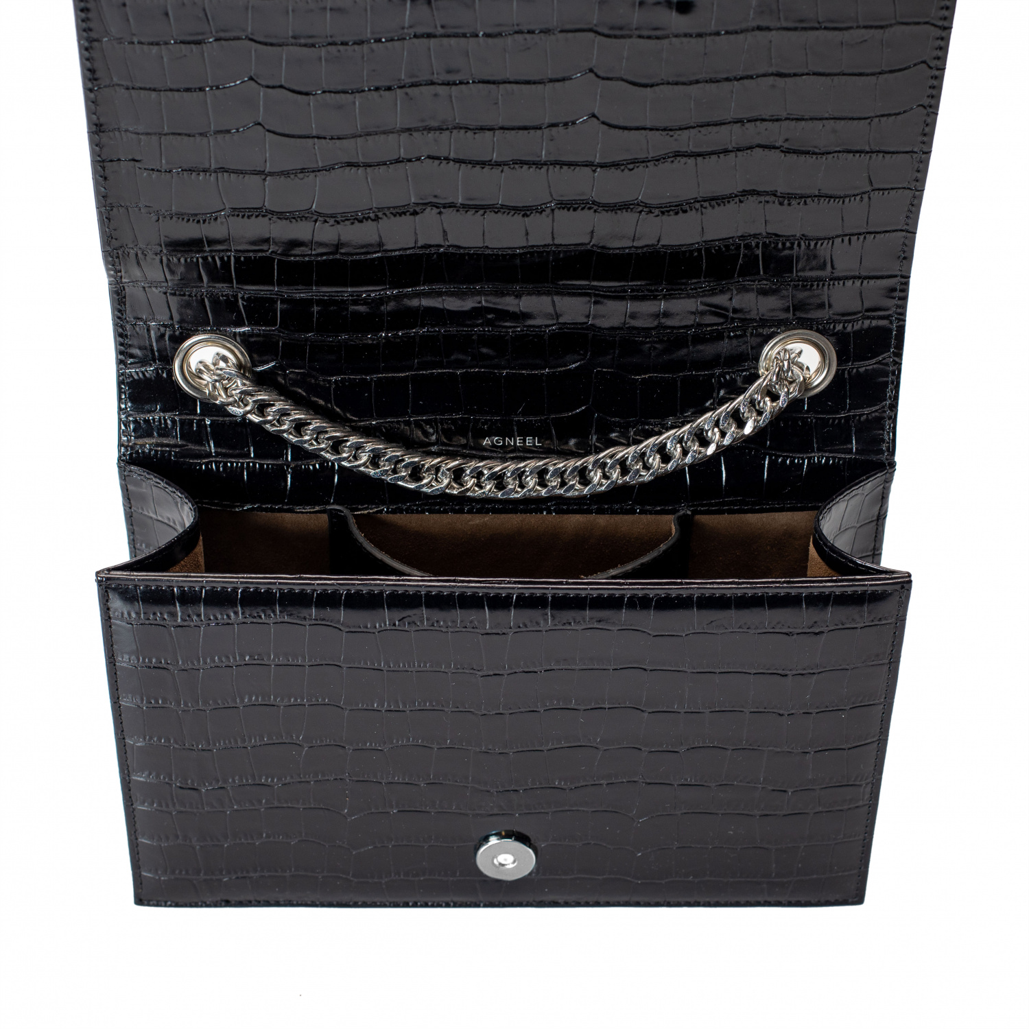 EVA SMALL SHOULDER BAG IN CALFSKIN WITH CROCO DESIGN