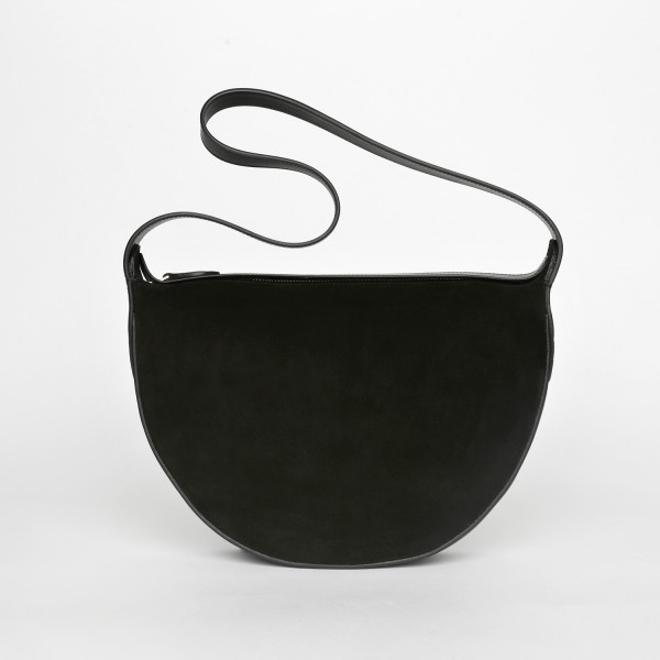 MONA HALF-MOON BAG IN SUEDE BLACK
