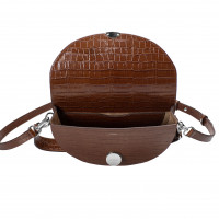 NORA SHOULDER BAG IN CALFSKIN TABACCO CROCO DESIGN