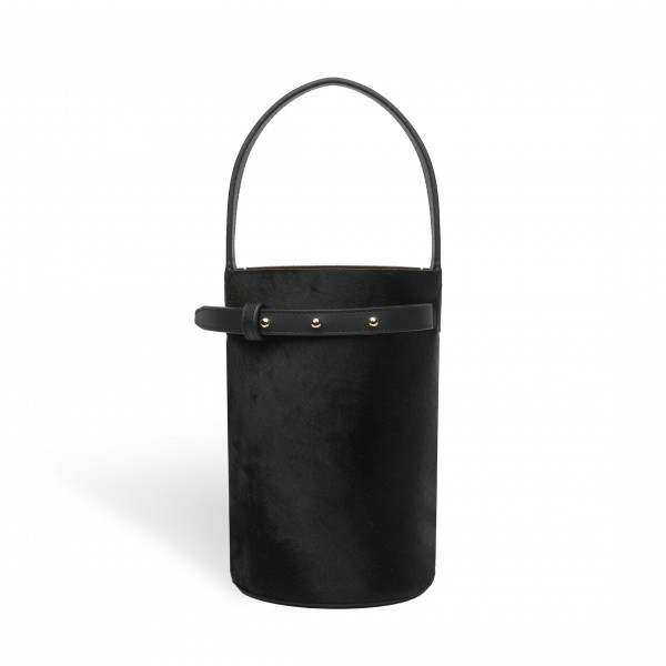 ZOE CYLINDER BAG SMALL PONYHAIR BLACK