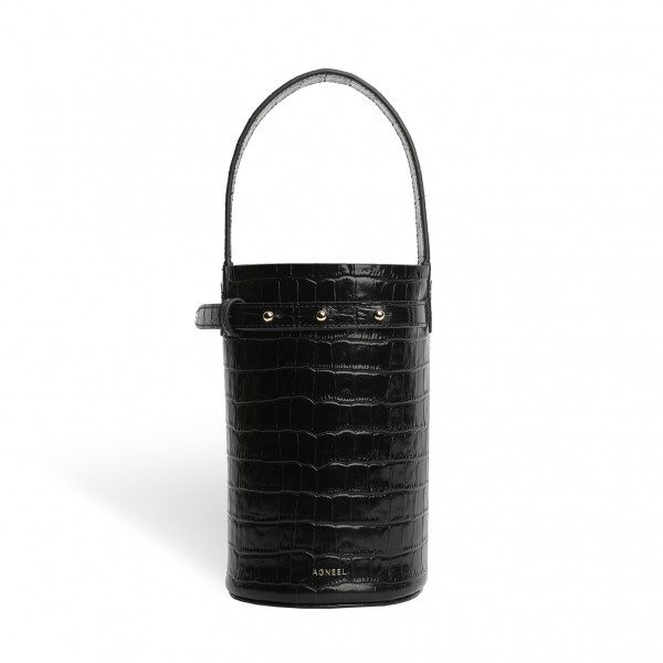 ZOE CYLINDER BAG SMALL IN CALFSKIN BLACK WITH CROCO EMBOSSING