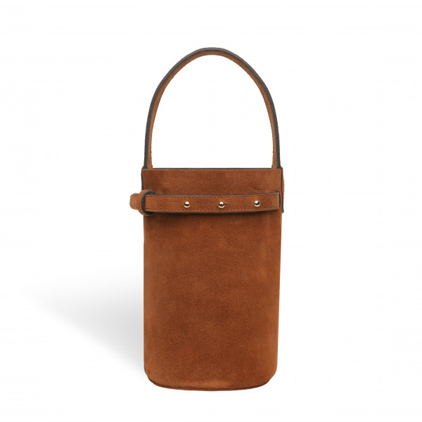 ZOE CYLINDER BAG SMALL IN SUEDE CAMEL